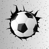 Football or soccer ball with cracked wall in 3D rendering Royalty Free Stock Photography