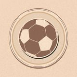 Football soccer ball drawing style on brown paper Stock Photos