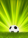 Football or soccer ball. EPS 8. Football or soccer ball on grass with a starburst backgrond. EPS 8  file included Stock Images