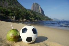 Football Soccer Ball with Fresh Coconut Rio Beach Royalty Free Stock Photo
