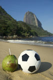 Football Soccer Ball with Fresh Coconut Rio Beach Royalty Free Stock Images