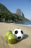 Football Soccer Ball with Fresh Coconut Rio Beach Stock Photography