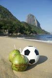Football Soccer Ball with Fresh Coconut Rio Beach Stock Photography
