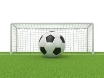 Football - soccer ball in front of goal gate on grass. 3D render Royalty Free Stock Image