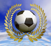 Football soccer ball in golden laurel wreath Stock Image