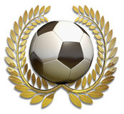 Football soccer ball in golden laurel wreath Stock Photography