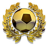 Football soccer ball in golden laurel wreath Royalty Free Stock Images