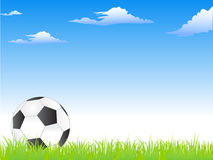 Football or soccer ball on the grass. Illustration of Football or soccer ball on the grass over a blue sky in the background Stock Photography