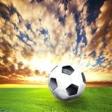 Football, soccer ball on grass stock photo