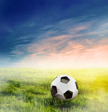 Football, soccer ball on grass Stock Photo