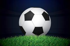 Football / Soccer Ball On Grass On Stadium. Vector Illustration. Stock Photos