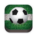 Football / Soccer Ball On Grass With White Line. Grass Trimmed Shaped Icons. Royalty Free Stock Photography