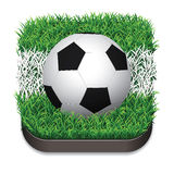 Football / Soccer Ball On Grass With White Line. Sport Icon. Vec Royalty Free Stock Photography