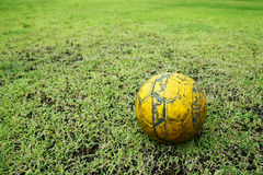 Football or soccer ball on the green field Royalty Free Stock Images