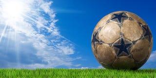 Football - Soccer Ball with Green Grass Stock Photos