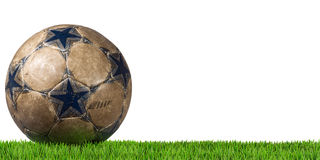 Football - Soccer Ball with Green Grass Stock Images