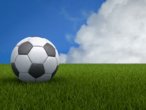 Football or Soccer Ball on a Green Grass with Blue Sky Backgroun Royalty Free Stock Photo