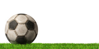 Football - Soccer Ball with Green Grass Royalty Free Stock Photography
