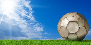 Football - Soccer Ball with Green Grass Stock Image