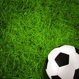 Football, soccer ball on green grass field Royalty Free Stock Photo