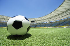 Football Soccer Ball Green Grass Stadium Pitch Stock Images
