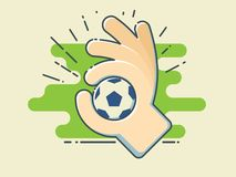 Football / Soccer Ball In Hand On Stylized Green Field. Line Art Style Vector Illustration Stock Photography