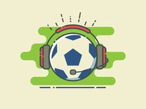 Football / Soccer Ball In Headphones With Microphone On Stylized Green Field. Sport Broadcasting. Line Art Style Vector Illustration Royalty Free Stock Photo