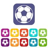 Football soccer ball icons set flat Stock Photo