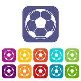Football or soccer ball icons set flat Stock Photography