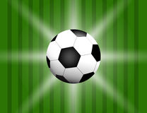 Football, soccer Ball Isolated on Football field Background with Space for Your Text. Stock Photography