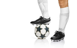 Football or soccer ball at the kickoff of a game Stock Photo