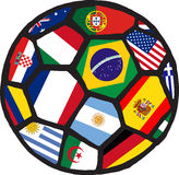 Football soccer ball made of flags. Vector Stock Image