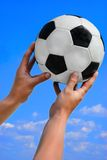 Football, soccer ball in man hand on blue Royalty Free Stock Image