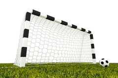 Football. Soccer ball next to a goal royalty free stock photos