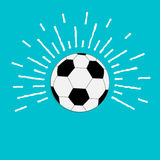 Football soccer ball with ray of light sunlight effect. Flat design style. Stock Photography
