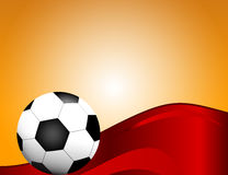 Football, soccer Ball  on Red Background with Space for Your Text. Royalty Free Stock Images