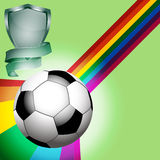 Football soccer ball with shield and banner Royalty Free Stock Images