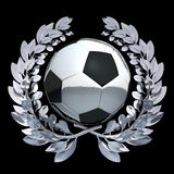 Football soccer ball in silver laurel wreath Royalty Free Stock Photography