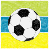 Football soccer ball on strips. Scribble effect. Flat design style. Stock Photography