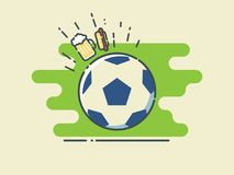 Football / Soccer Ball On Stylized Green Field With Glass of Beer and Hot Dog. Line Art Style Vector Illustration Royalty Free Stock Images