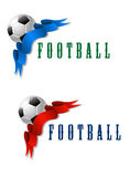 Football or soccer ball symbol with blue and red Royalty Free Stock Image