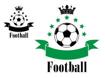 Football or soccer ball symbols with green and Stock Image