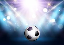 Football / soccer ball under spotlights with bokeh lights royalty free illustration