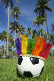 Football Soccer Ball Wearing Rainbow Carnival Headdress Brazil Stock Photo