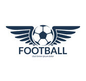 Football soccer ball with wings. Vector logo, symbol. Football soccer ball with wings. Vector logo or symbol Royalty Free Stock Image