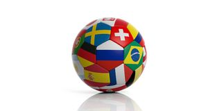 Football soccer ball with world flags isolated on white background. 3d illustration. Soccer football ball with world teams flags isolated on white background. 3d Royalty Free Stock Photo
