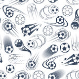 Football or soccer balls seamless pattern. Football sport game pattern with gray and white seamless background of speed flight of soccer balls with curved and Royalty Free Stock Images