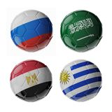 Football soccer balls. Set of 3d soccer balls with flags. 2018. Group A Stock Image