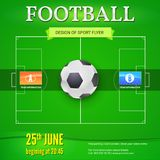Football or soccer banner with text design. Template for game tournament. Football ball above green field, top view. Sport events design for posters, print Royalty Free Stock Photos