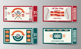 Football, soccer and Baseball ticket vector design Royalty Free Stock Image